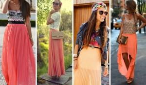 memakai maxi skirt